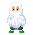 kid in ghost costume for halloween vector image vector image