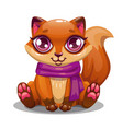 little cute cartoon sitting fox vector image vector image