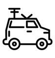 machine portable radio line icon van with vector image vector image