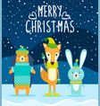 merry christmas postcard cute animals in clothes vector image vector image