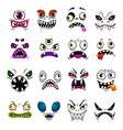 monster face funny emoticons and emojis cartoon vector image vector image