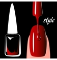 Nail polish red on black background vector image