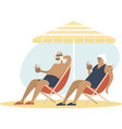 old senior couple enjoying a coconut cocktail vector image