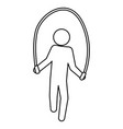 pictogram man jumping rope workout vector image