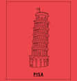pisa tower leaninghand drawn sketch vector image vector image