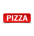 Pizza red 3d square button isolated on white vector image