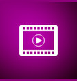 play video icon isolated on purple background vector image