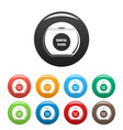 round box floss icons set color vector image