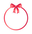 Round frame decorated red bow