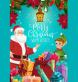santa and elf with christmas gifts and presents vector image vector image