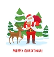 Santa Claus and reindeer Christmas tree vector image vector image