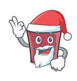 santa hot chocolate mascot cartoon vector image vector image