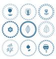 scandinavian folk art frames cute floral vector image vector image