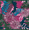 seamless pattern with aster flowers and plants vector image vector image