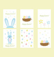 set greeting cards with easter rabbits image vector image vector image