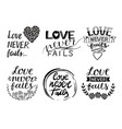 set of 6 hand lettering quotes love never fails vector image