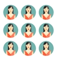 Set of nine different women emotions vector image