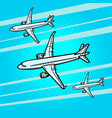 several passenger airliners aircraft air transport vector image vector image