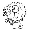 sheep with a flower coloring pages vector image vector image