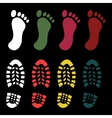 Shoe and bare foot print vector image
