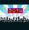 silhouette of people are shining hands new year vector image