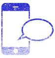 smartphone message balloon textured icon vector image vector image