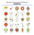 sports flat line icon set - business concept vector image