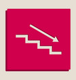 stair down with arrow grayscale version vector image vector image
