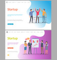 startup presentation people whiteboard with info vector image vector image