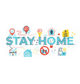 stay home word lettering vector image