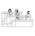 student having a class black and white vector image