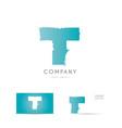 T blue letter alphabet logo icon design