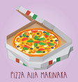 the real pizza alla marinara italian pizza in box vector image vector image