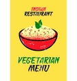 Vegetarian menu card for Indian restaurant vector image