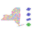 welcome composition of mosaic map of new york vector image vector image
