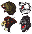 wild animals heads set lion bear gorilla panda vector image