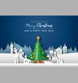 year papercut city pine tree card vector image