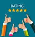 flat design hand with star rating evaluatio vector image