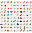 100 advertising icons set isometric 3d style vector image vector image