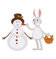 adorable rabbit with basket of carrots makes vector image