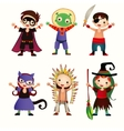 An of kids in halloween costumes vector image vector image