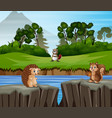 animals cartoon playing in nature background vector image vector image