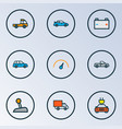 auto icons colored line set with pickup prime vector image