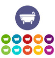 bathtub icons set color vector image vector image