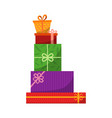 big pile of colorful wrapped gift boxes mountain vector image