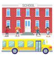 bus school riding kids education establishment vector image vector image
