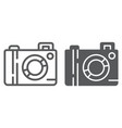 camera line and glyph icon lens and photo vector image