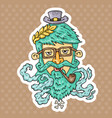 cartoon hipster head vector image vector image