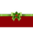 christmas green ribbon with holly berry white vector image vector image