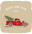 christmas truck side view in color image vector image vector image